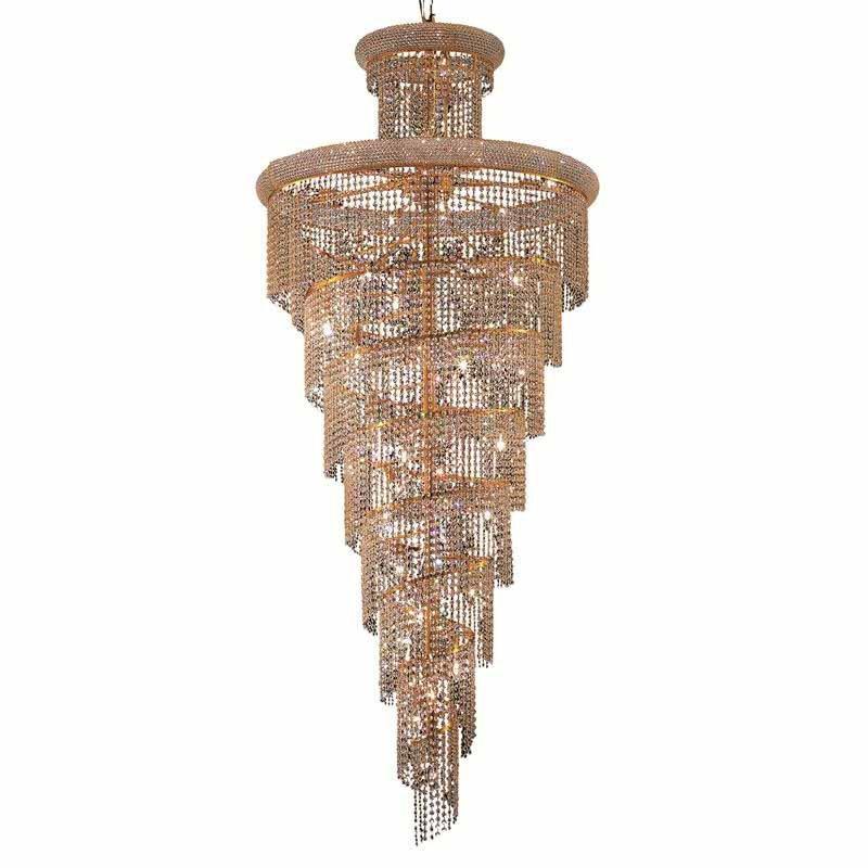 Elegant Lighting Value Spiral 32 Light Gold Chandelier Clear Swarovski Elements Crystal (V1800SR36G/SS)