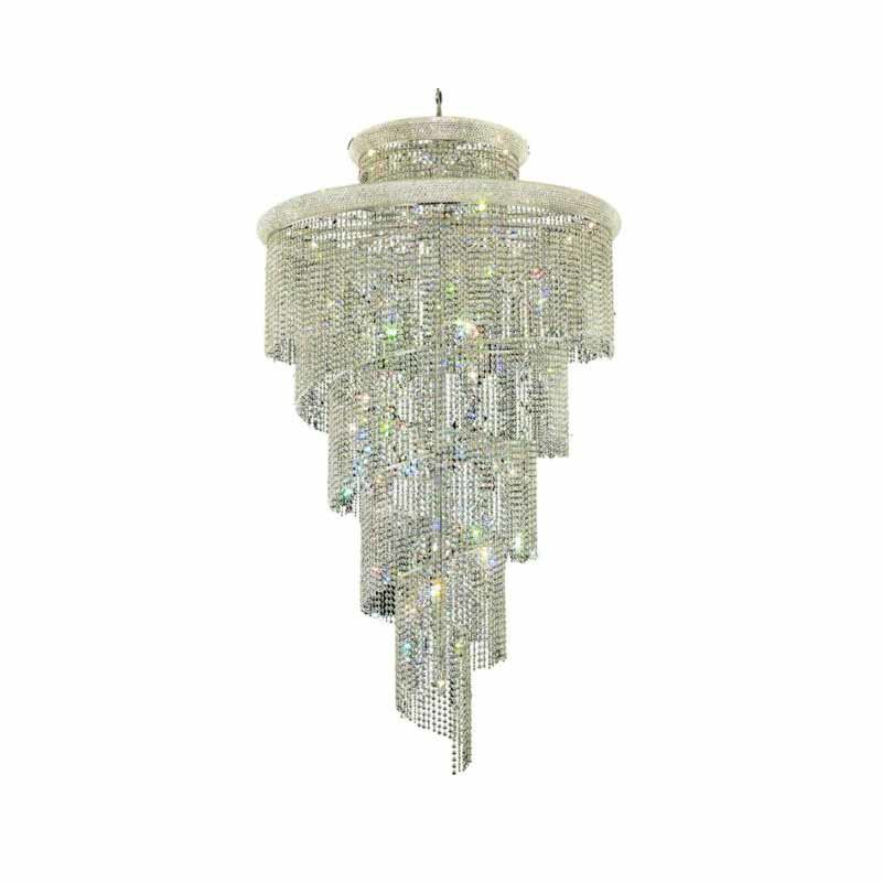 Elegant Lighting Value Spiral 41 Light Chrome Chandelier Clear Elegant Cut Crystal (V1800SR48C/EC)