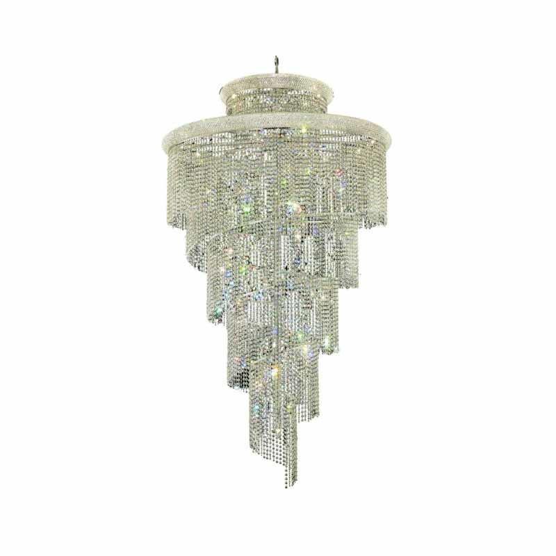 Elegant Lighting Value Spiral 41 Light Chrome Chandelier Clear Royal Cut Crystal (V1800SR48C/RC)