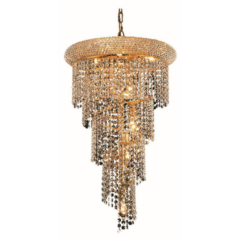 Elegant Lighting Value Spiral 8 Light Gold Pendant Clear Swarovski Elements Crystal (V1801SR16G/SS)