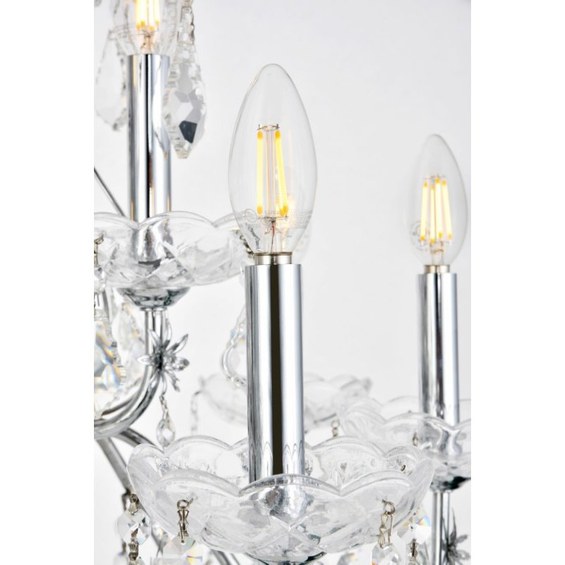 Elegant Lighting Value St. Francis 12 Light Chrome Chandelier Clear Spectra Swarovski Crystal (V2015D28C/SA)