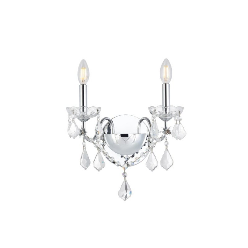 Elegant Lighting Value St. Francis 2 Light Chrome Wall Sconce Clear Royal Cut Crystal (V2015W2C/RC)
