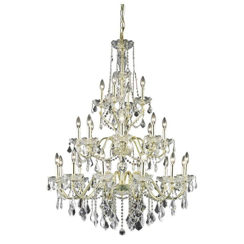 Elegant Lighting Value St. Francis 24 Light Gold Chandelier Clear Spectra Swarovski Crystal (V2015G36G/SA)
