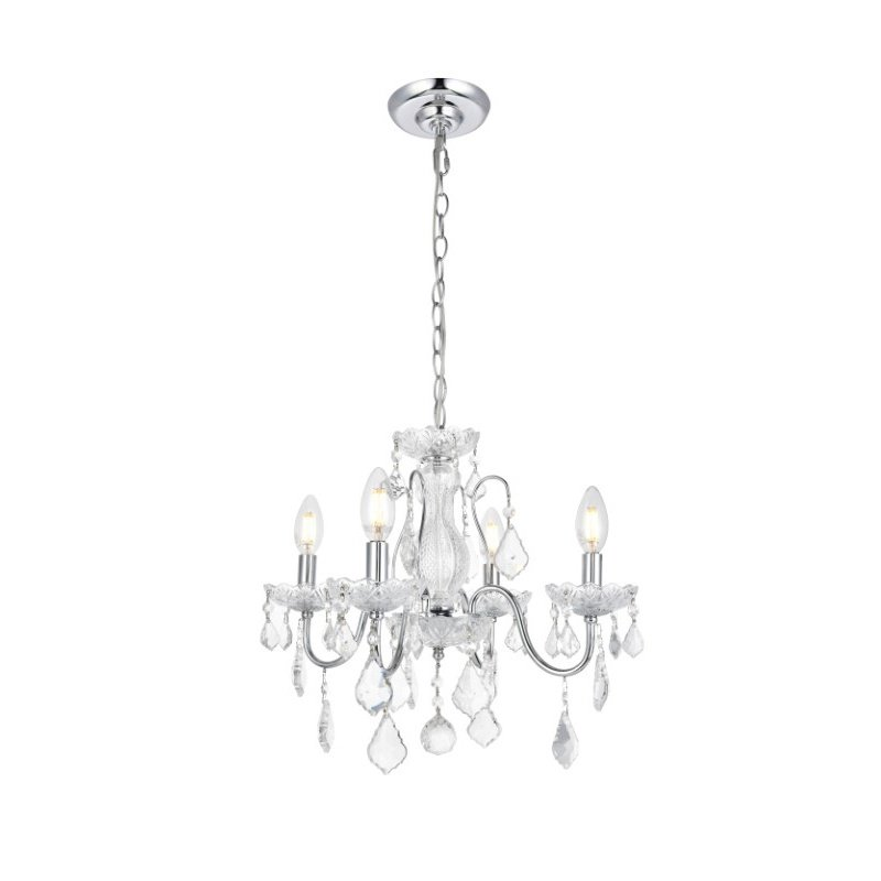 Elegant Lighting Value St. Francis 4 Light Chrome Pendant Clear Royal Cut Crystal (V2015D17C/RC)