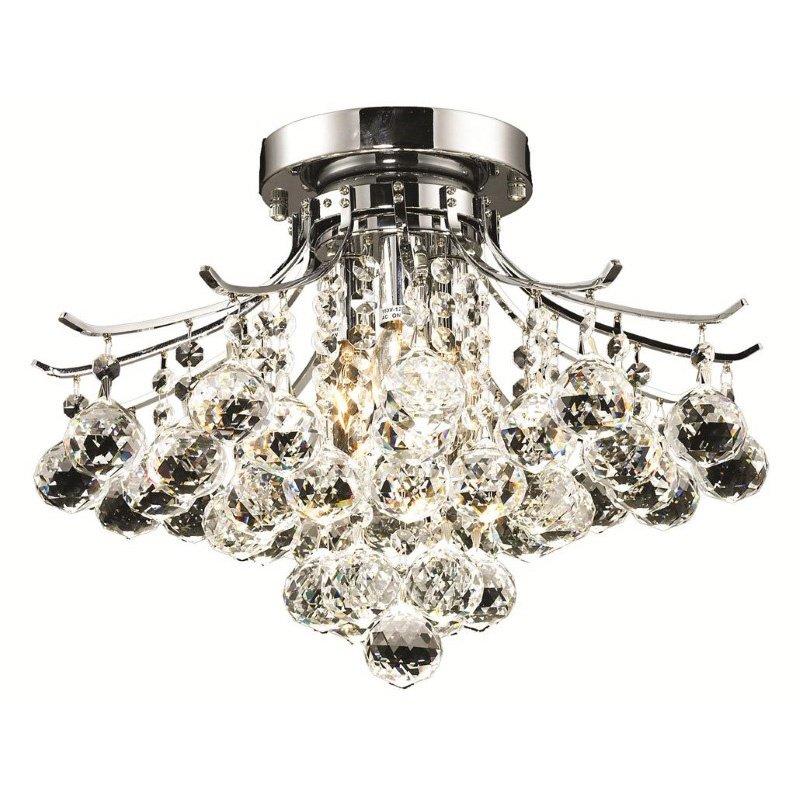 Elegant Lighting Value Toureg 3 Light Chrome Flush Mount Clear Royal Cut Crystal (V8000F16C/RC)
