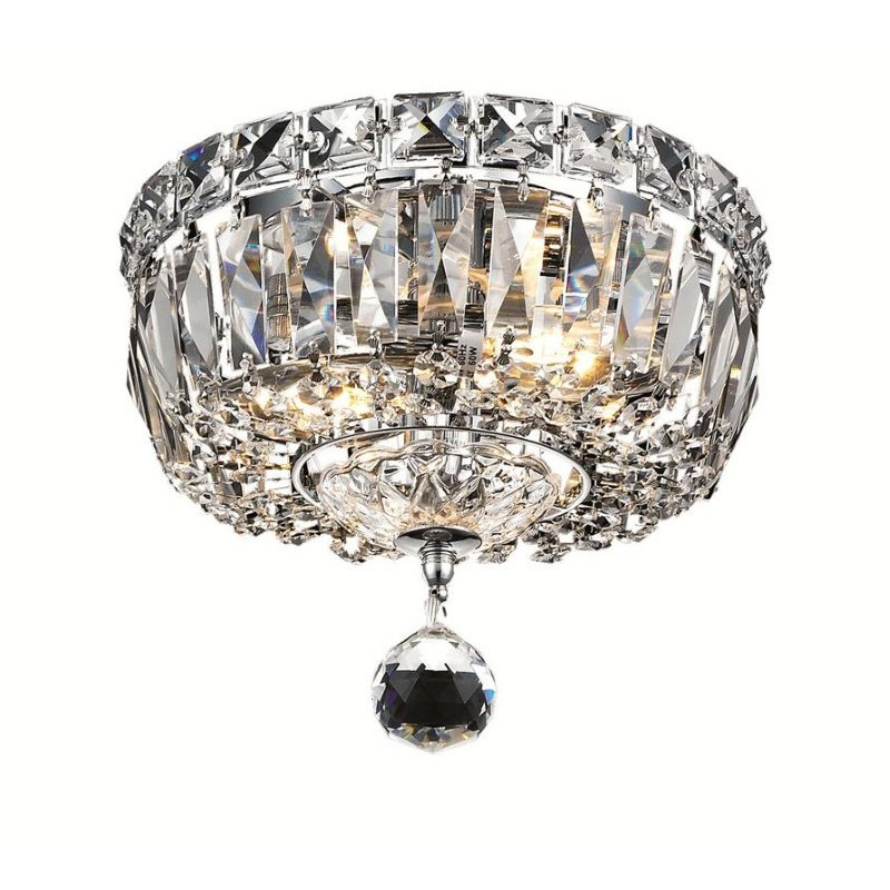 Elegant Lighting Value Tranquil 2 Light Chrome Flush Mount Clear Swarovski Elements Crystal (V2528F8C/SS)