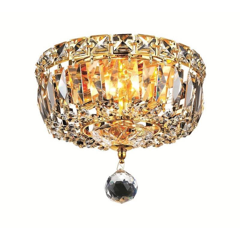 Elegant Lighting Value Tranquil 2 Light Gold Flush Mount Clear Elegant Cut Crystal (V2528F8G/EC)