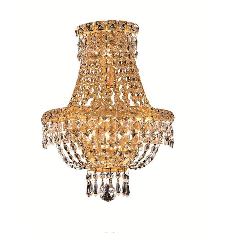 Elegant Lighting Value Tranquil 3 Light Gold Wall Sconce Clear Swarovski Elements Crystal (V2528W12G/SS)