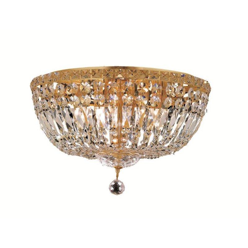 Elegant Lighting Value Tranquil 8 Light Gold Flush Mount Clear Elegant Cut Crystal (V2528F18G/EC)