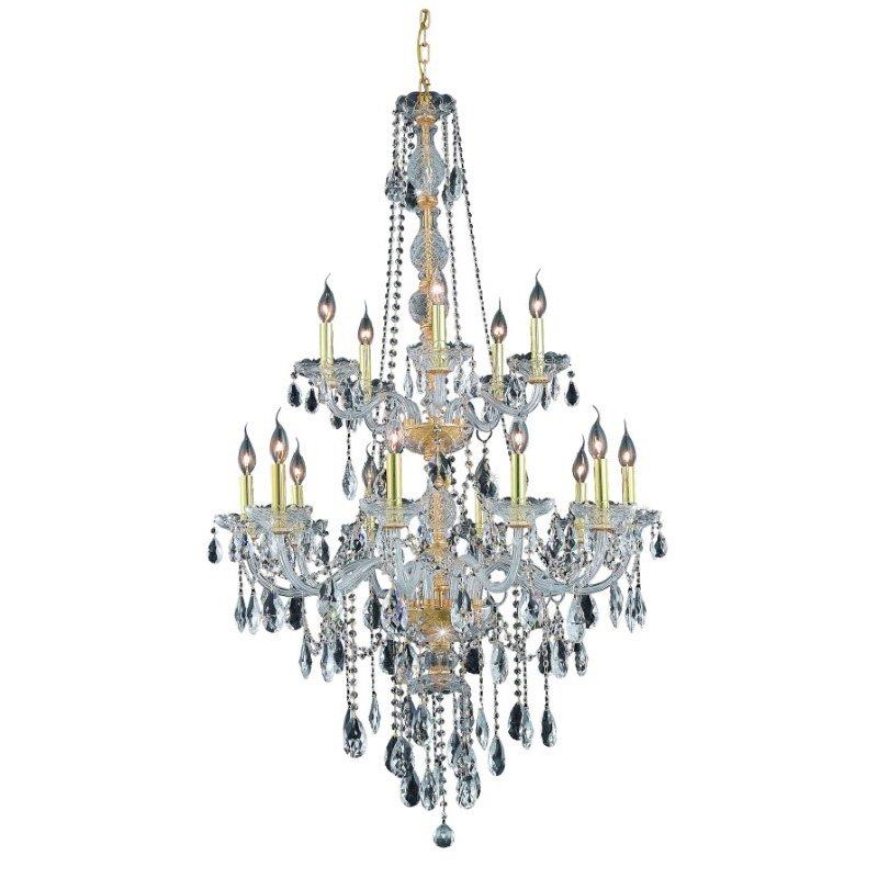 Elegant Lighting Verona 15 Light Gold Chandelier Clear Swarovski Elements Crystal (7915G33G/SS)