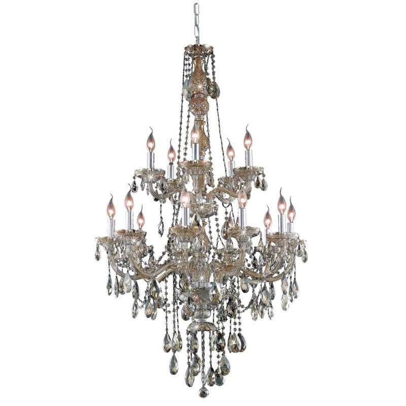 Elegant Lighting Verona 15 Light Golden Teak Chandelier Golden Teak (Smoky) Royal Cut Crystal (7915G33GT-GT/RC)