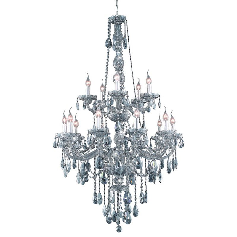 Elegant Lighting Verona 15 Light Silver Shade Chandelier Silver Shade (Grey) Swarovski Elements Crystal (7915G33SS-SS/SS)