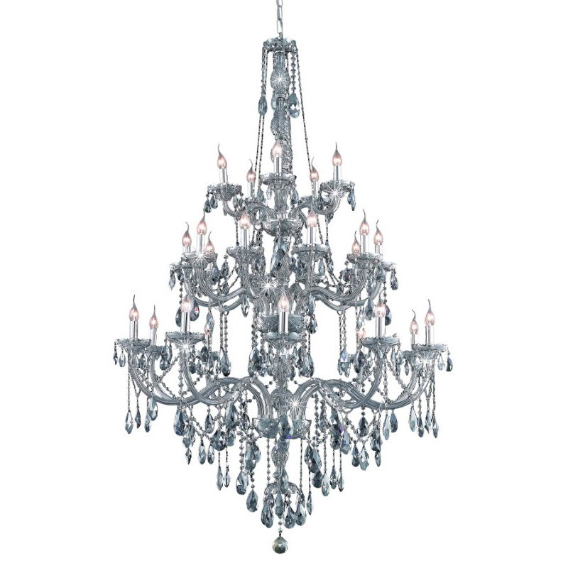 Elegant Lighting Verona 25 Light Silver Shade Chandelier Silver Shade (Grey) Swarovski Elements Crystal (7925G43SS-SS/SS)