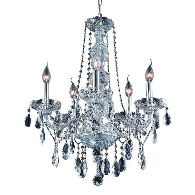 Elegant Lighting Verona 5 Light Chrome Chandelier Clear Royal Cut Crystal (7955D21C/RC)