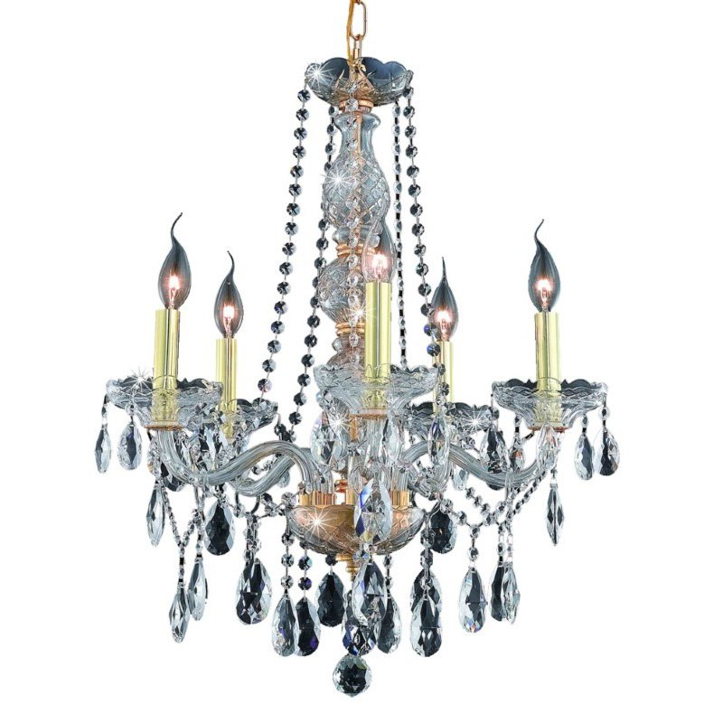 Elegant Lighting Verona 5 Light Gold Chandelier Clear Spectra Swarovski Crystal (7955D21G/SA)
