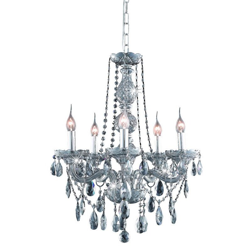 Elegant Lighting Verona 5 Light Silver Shade Chandelier Silver Shade (Grey) Royal Cut Crystal (7955D21SS-SS/RC)