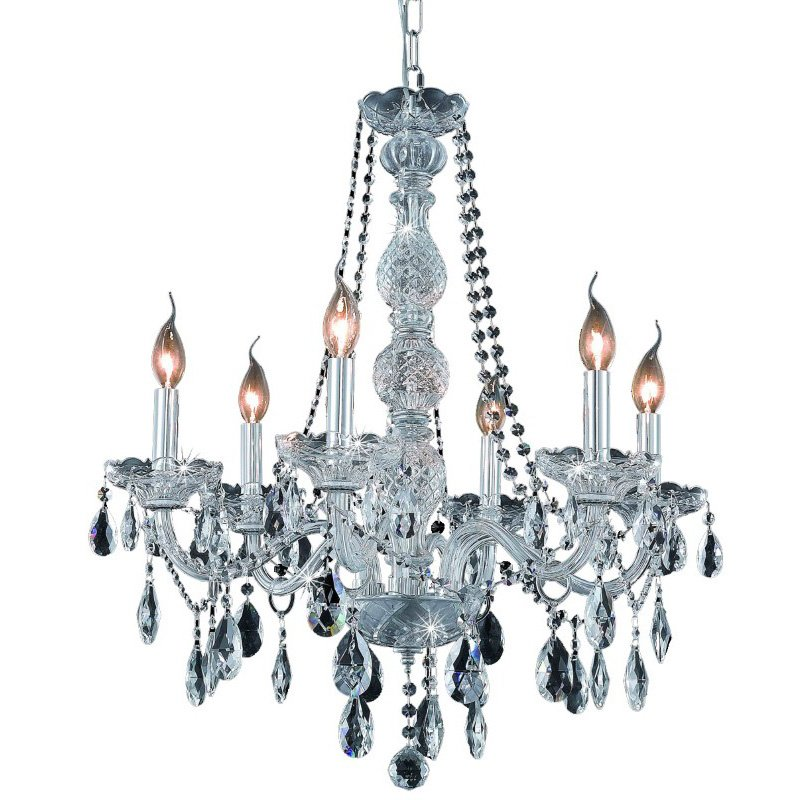 Elegant Lighting Verona 6 Light Chrome Chandelier Clear Swarovski Elements Crystal (7956D24C/SS)