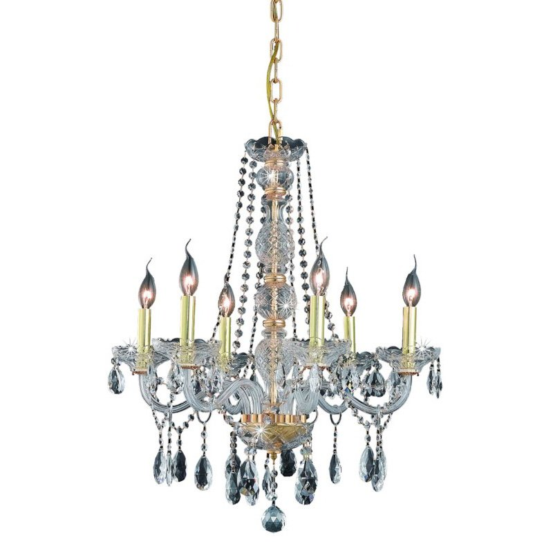 Elegant Lighting Verona 6 Light Gold Chandelier Clear Elegant Cut Crystal (7956D24G/EC)