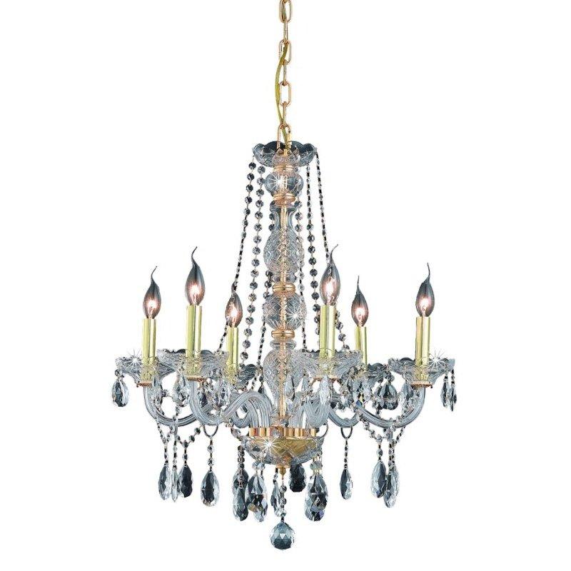 Elegant Lighting Verona 6 Light Gold Chandelier Clear Royal Cut Crystal (7956D24G/RC)