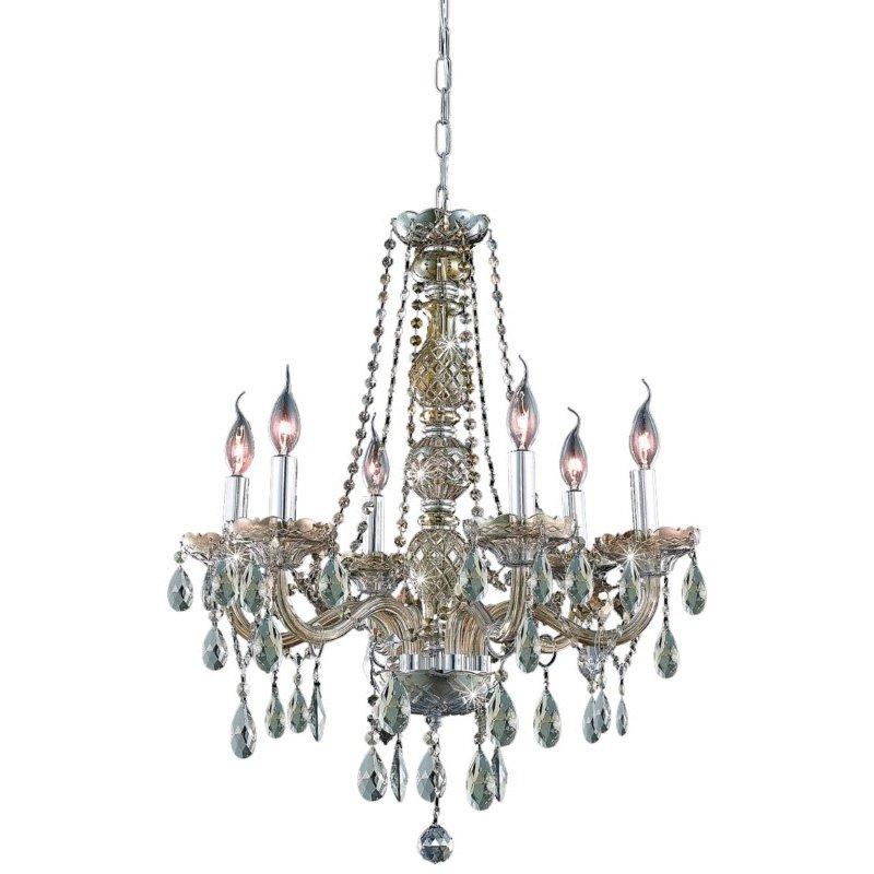 Elegant Lighting Verona 6 Light Golden Teak Chandelier Golden Teak (Smoky) Swarovski Elements Crystal (7956D24GT-GT/SS)