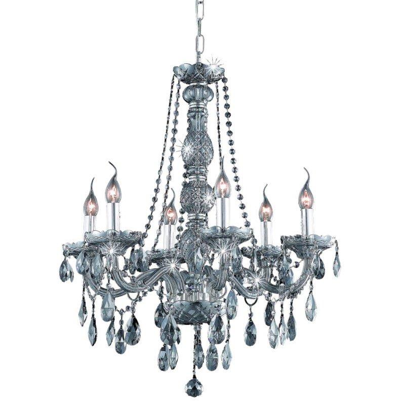 Elegant Lighting Verona 6 Light Silver Shade Chandelier Silver Shade (Grey) Swarovski Elements Crystal (7956D24SS-SS/SS)