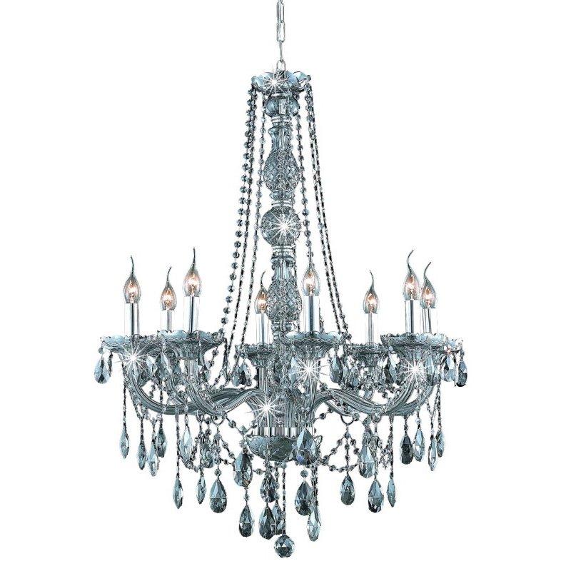 Elegant Lighting Verona 8 Light Silver Shade Chandelier Silver Shade (Grey) Royal Cut Crystal (7958D28SS-SS/RC)