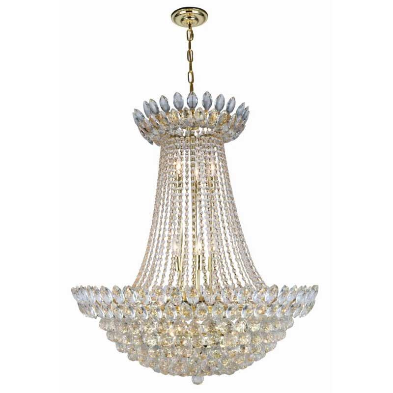 Elegant Lighting Vesper 17 Light Gold Chandelier Clear Royal Cut Crystal (3002D30G/RC)