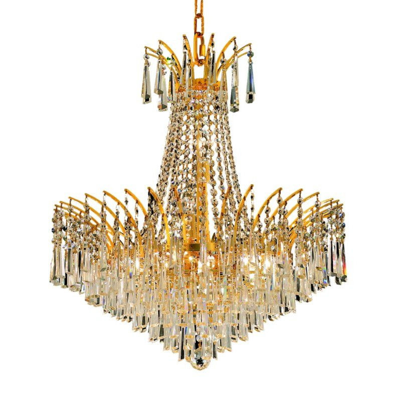 Elegant Lighting Victoria 11 Light Gold Chandelier Clear Elegant Cut Crystal (8032D24G/EC)