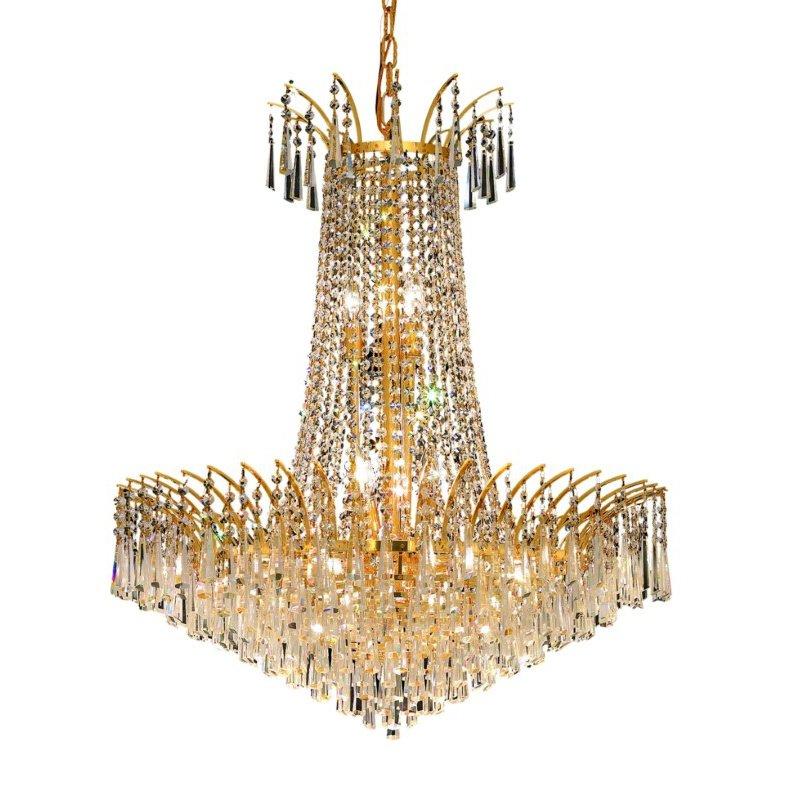 Elegant Lighting Victoria 16 Light Gold Chandelier Clear Elegant Cut Crystal (8032D29G/EC)