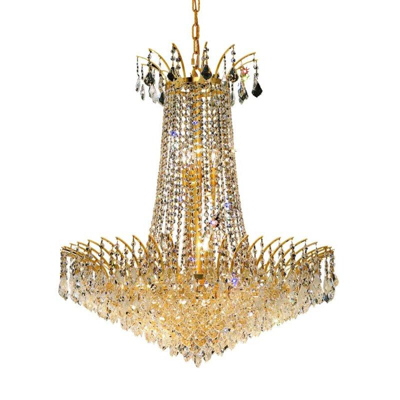 Elegant Lighting Victoria 16 Light Gold Chandelier Clear Elegant Cut Crystal (8033D29G/EC)