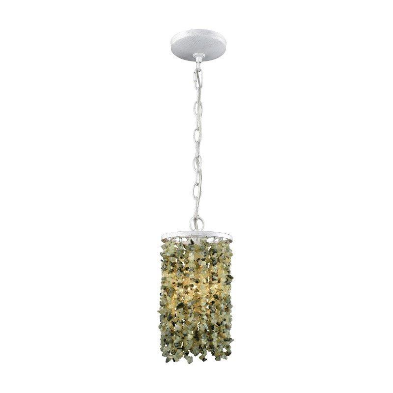 ELK Lighting Agate Stones 1 Light Pendant in Weathered Bronze with Light Jade Agate Stones - Includes Recessed Lighting Kit (65325/1-LA)