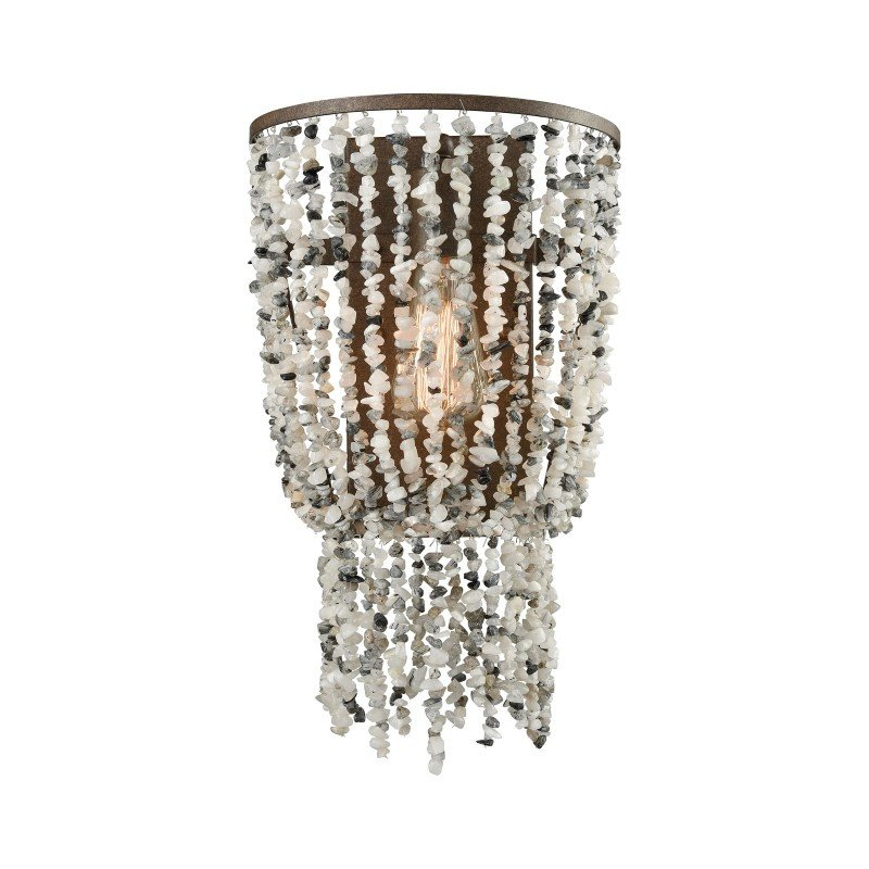ELK Lighting Agate Stones 1 Light Wall Sconce in Weathered Bronze with Gray Agate Stones (65301/1)