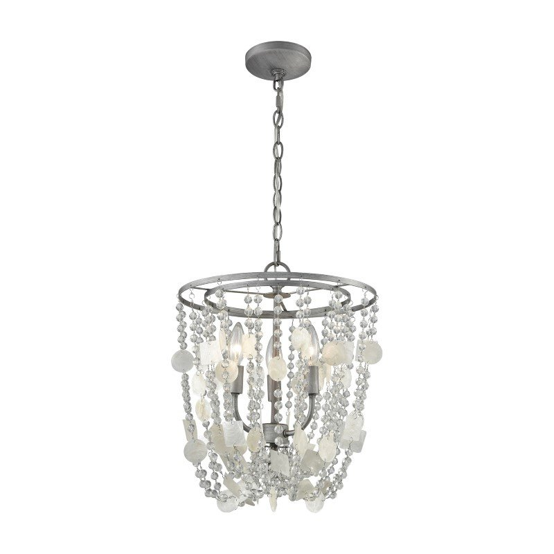ELK Lighting Alexandra 3 Light Chandelier in Weathered Zinc with Capiz Shells And Clear Crystal (15935/3)