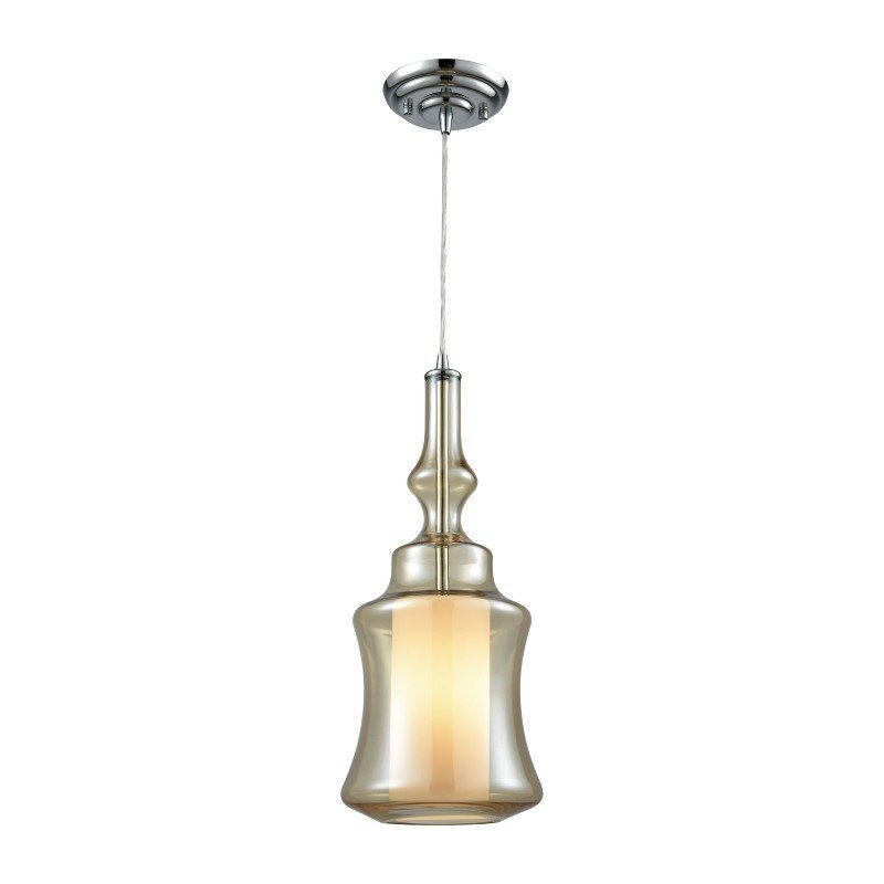 ELK Lighting Alora 1 Light Pendant in Polished Chrome with Opal White And Champagne Plated Glass - Includes Recessed Lighting Kit (56502/1-LA)