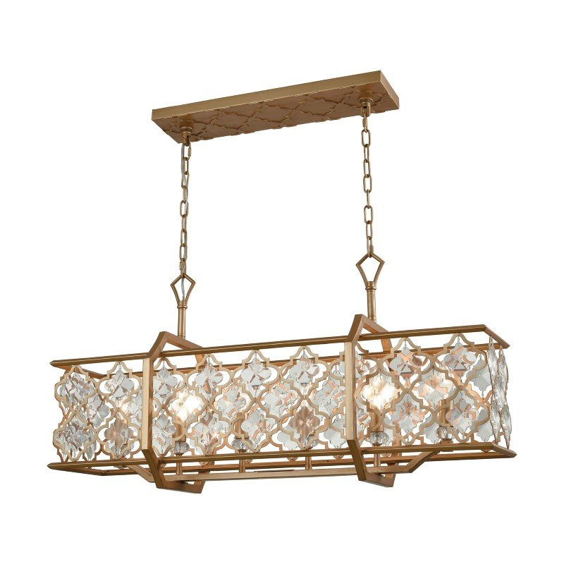 ELK Lighting Armand 6 Light Chandelier in Matte Gold with Clear Crystal (32095/6)
