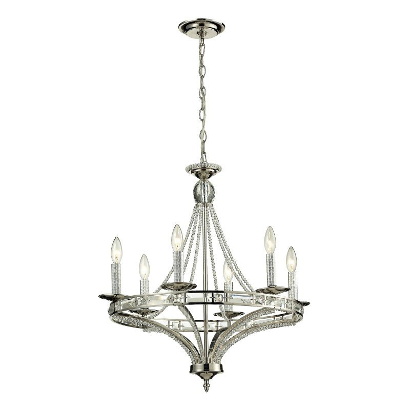 ELK Lighting Aubree 6 Light Chandelier In Polished Nickel (31501/6)