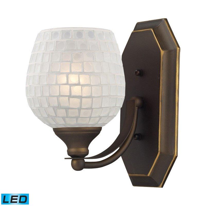 ELK Lighting Bath And Spa 1 Light LED Vanity In Aged Bronze And White Glass (570-1B-WHT-LED)