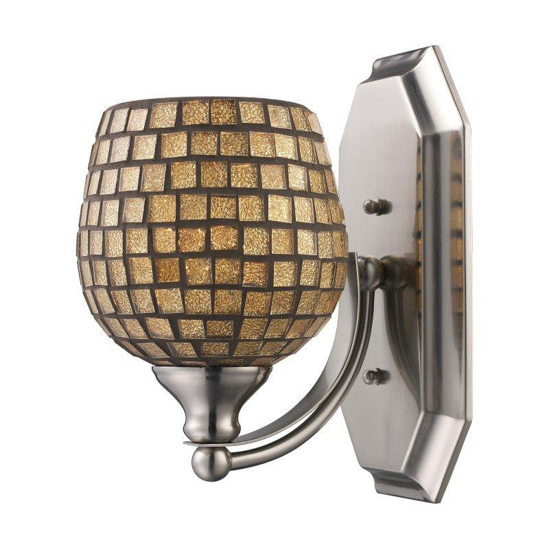 ELK Lighting Bath And Spa 1 Light Vanity In Polished Chrome And Gold Leaf Glass (570-1C-GLD)