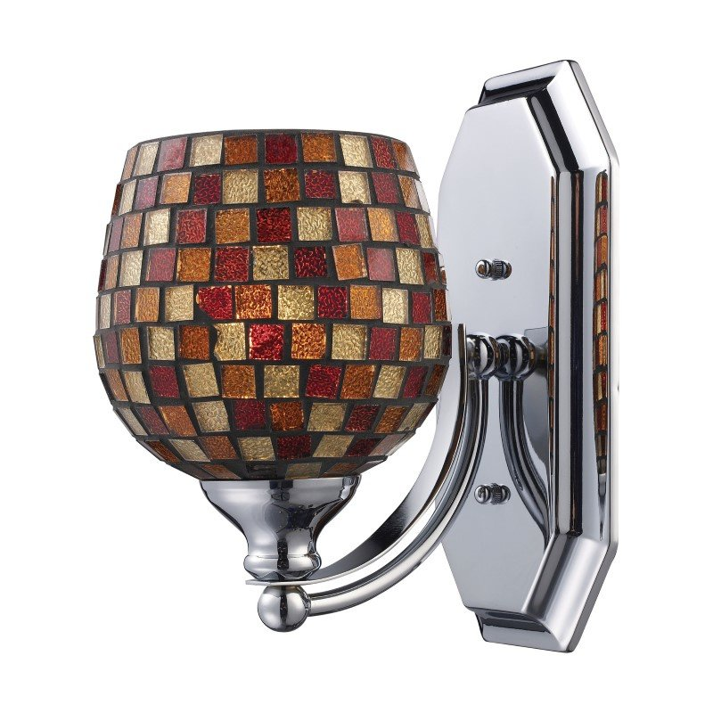 ELK Lighting Bath And Spa 1 Light Vanity In Polished Chrome And Multi Fusion Glass (570-1C-MLT)