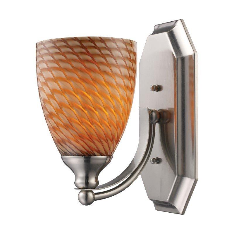 ELK Lighting Bath And Spa 1 Light Vanity In Satin Nickel And Cocoa Glass (570-1N-C)