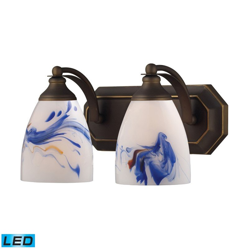 ELK Lighting Bath And Spa 2 Light LED Vanity In Aged Bronze And Mountain Glass (570-2B-MT-LED)