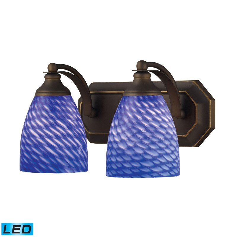 ELK Lighting Bath And Spa 2 Light LED Vanity In Aged Bronze And Sapphire Glass (570-2B-S-LED)