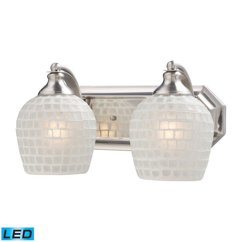 ELK Lighting Bath And Spa 2 Light LED Vanity In Satin Nickel And White Glass (570-2N-WHT-LED)