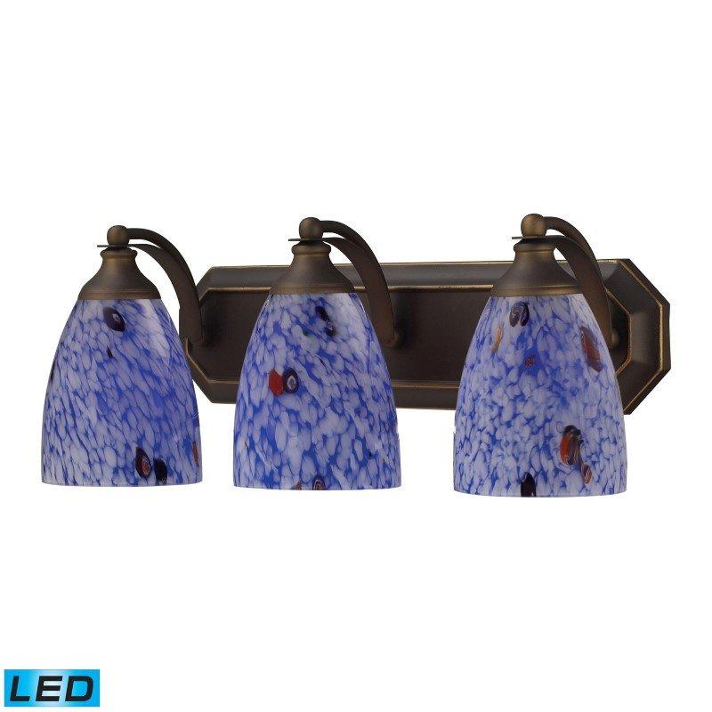 ELK Lighting Bath And Spa 3 Light LED Vanity In Aged Bronze And Starburst Blue Glass (570-3B-BL-LED)