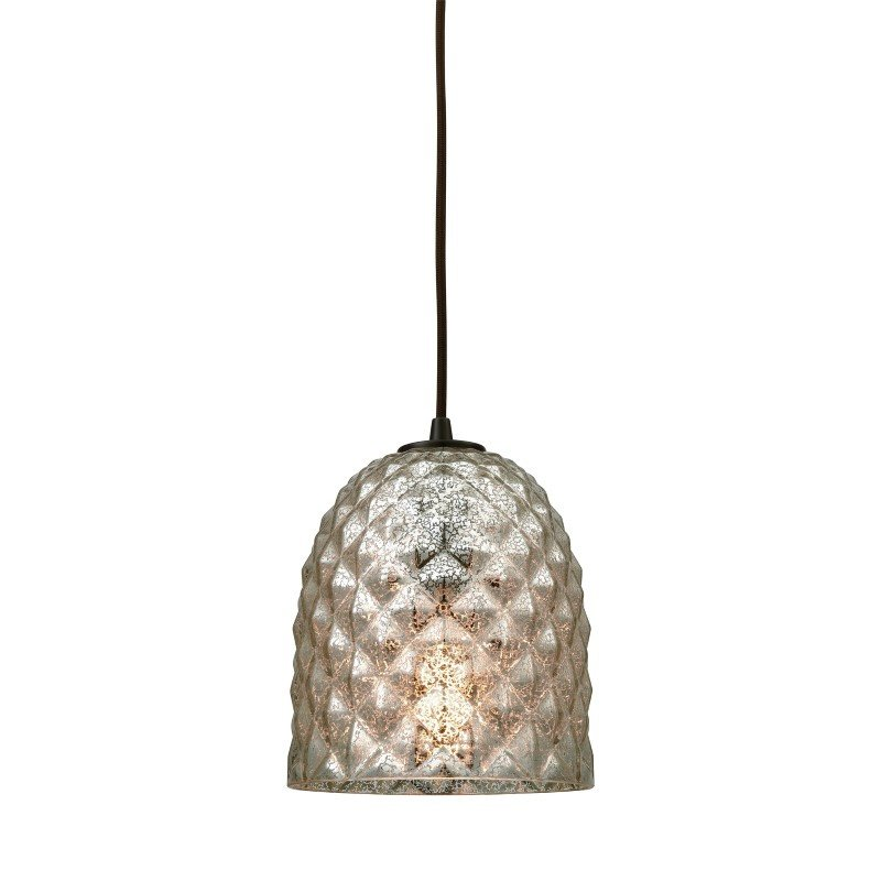 ELK Lighting Brimley 1 Light Pendant in Oil Rubbed Bronze with Raised Diamond Texture Mercury Glass (10765/1)