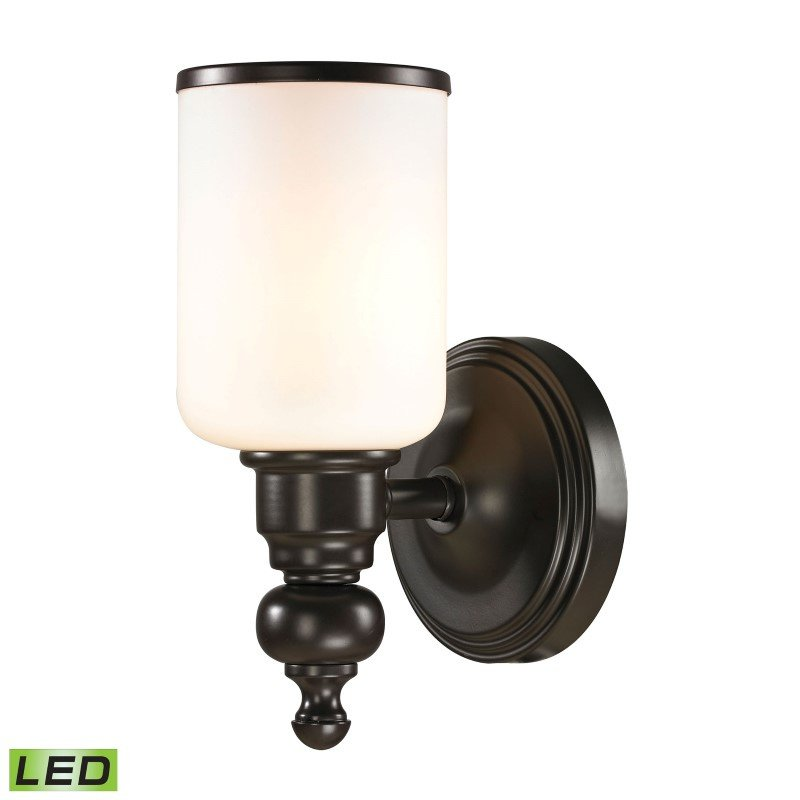 ELK Lighting Bristol Way 1 Light LED Vanity In Oil Rubbed Bronze And Opal White Glass (11590/1-LED)