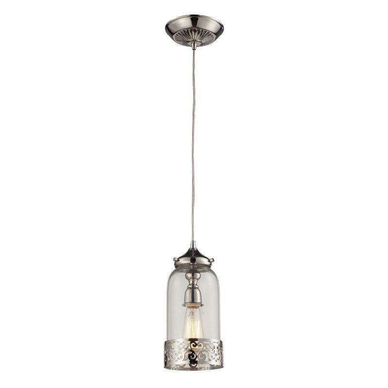 ELK Lighting Brookline 1 Light Pendant In Polished Nickel And Clear Glass (63025-1)