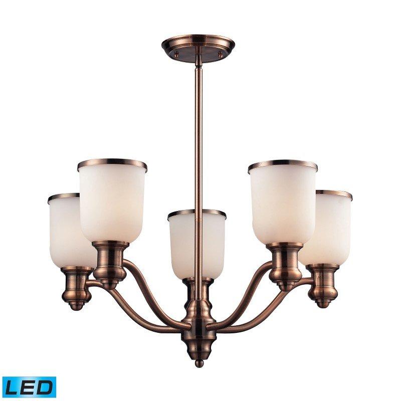 ELK Lighting Brooksdale 5 Light LED Chandelier In Antique Copper And White Glass (66183-5-LED)