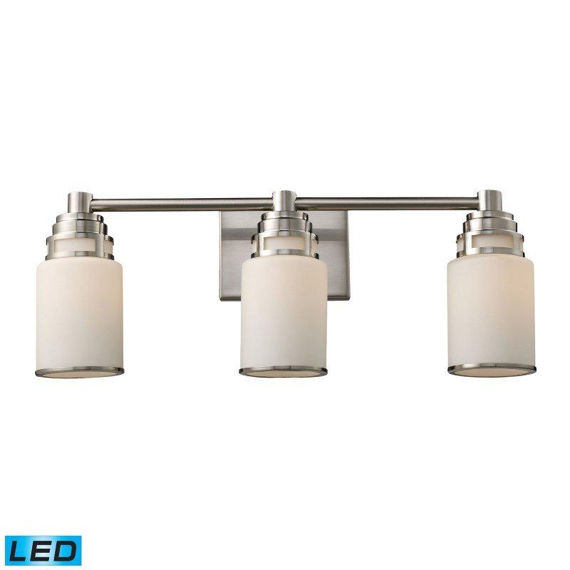 ELK Lighting Bryant 3 Light LED Vanity In Satin Nickel And Opal White Glass (11266/3-LED)