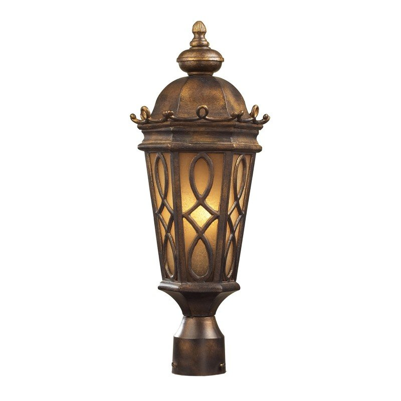 ELK Lighting Burlington Junction 2 Light Outdoor Post Light In Hazlenut Bronze And Amber Scavo Glass (42004/2)